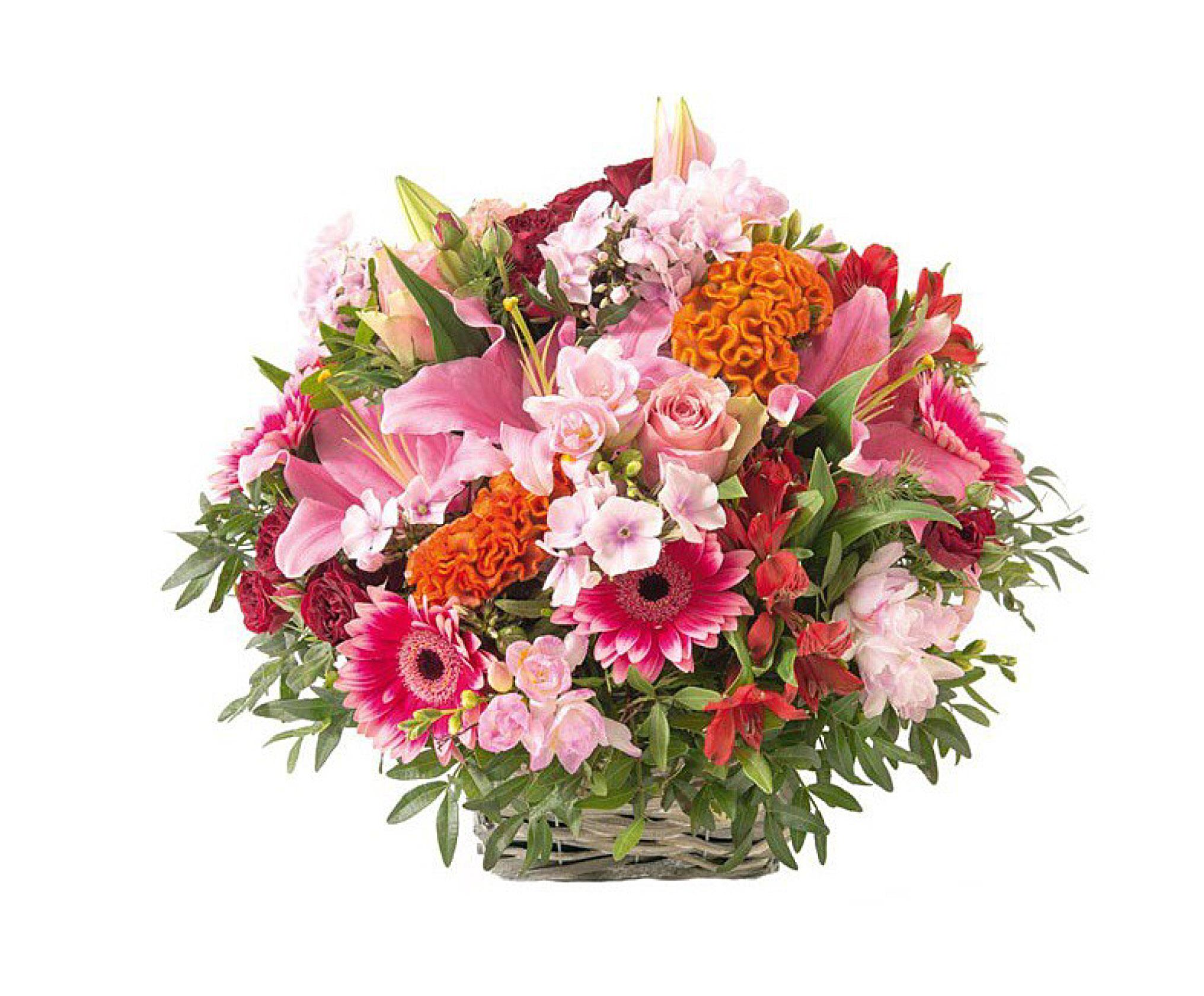 Panier De Fleurs Fraîches : Panier de fleurs espace fun?raire vend?en